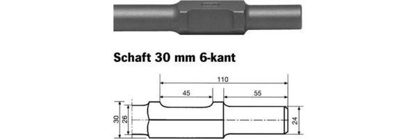 Schaft 30 mm 6-kant